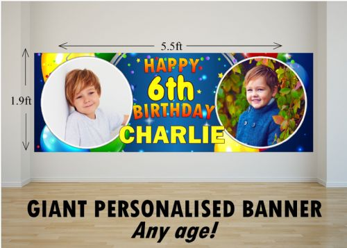 Personalised GIANT Large Happy Birthday PHOTO Poster Banner N37 ANY AGE